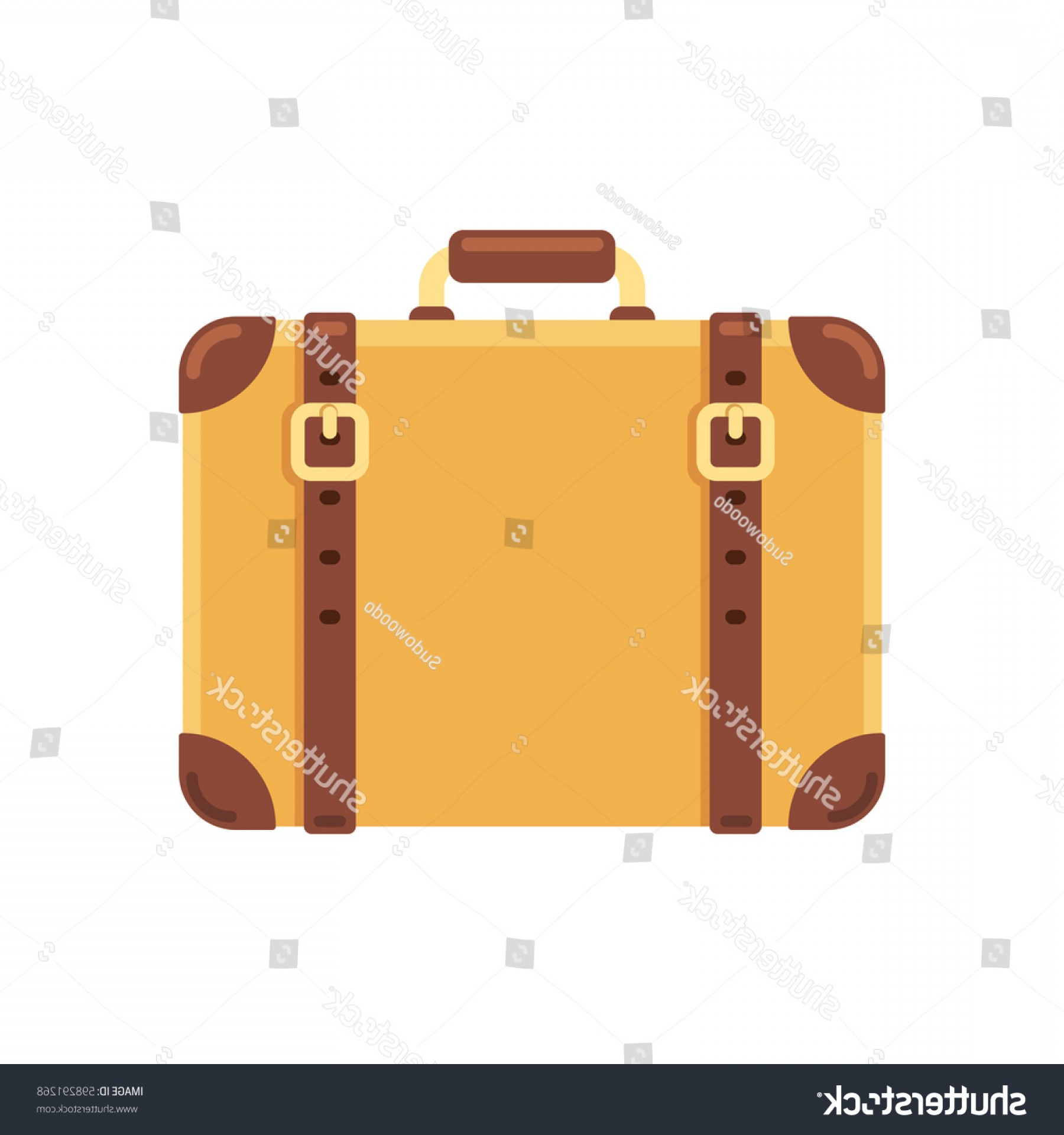 Vintage Luggage Vector: Old Vintage Suitcase Leather Belts Isolated