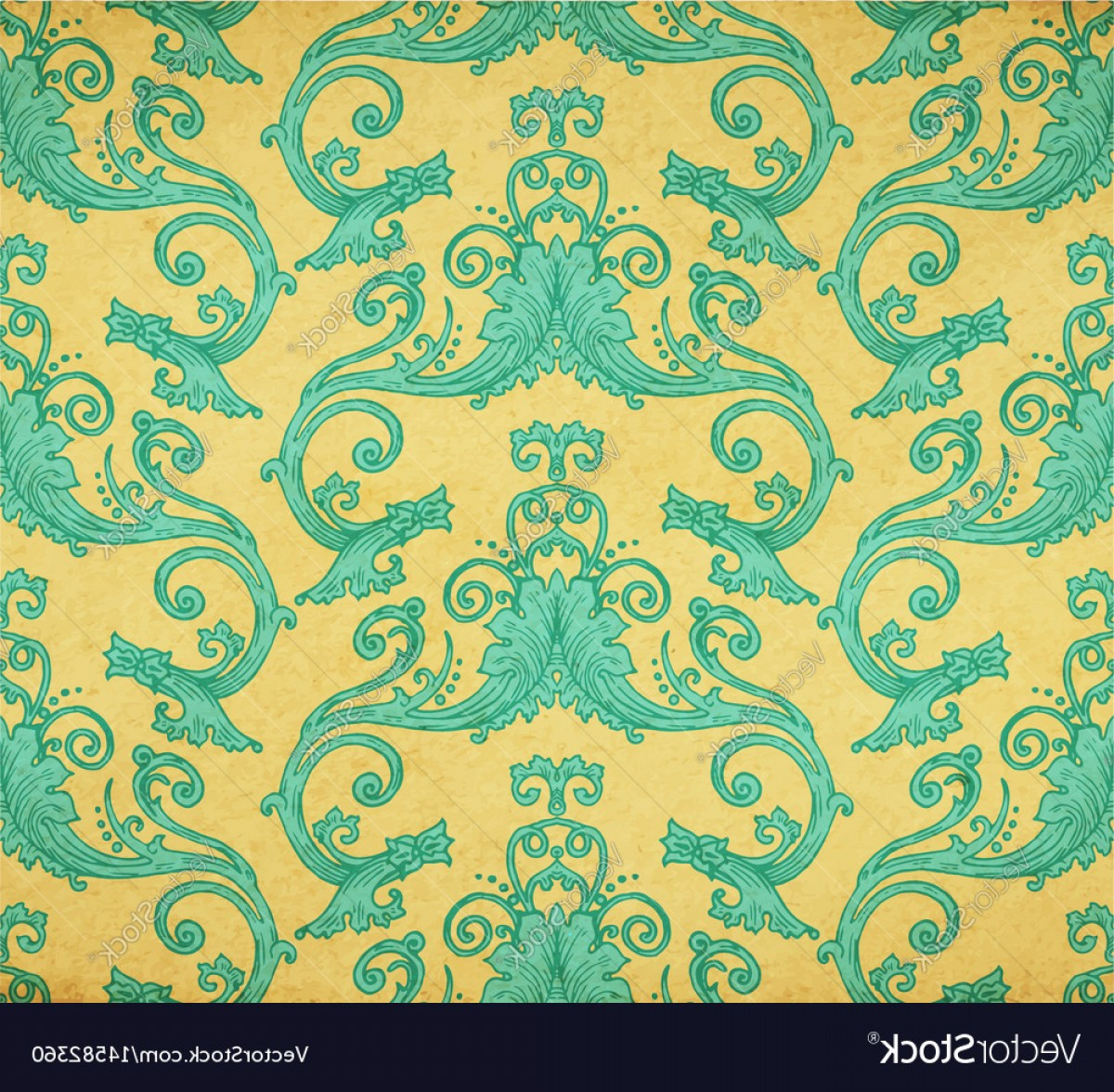 Aqua Victorian Vectors: Old Vintage Victorian Wallpaper Vector