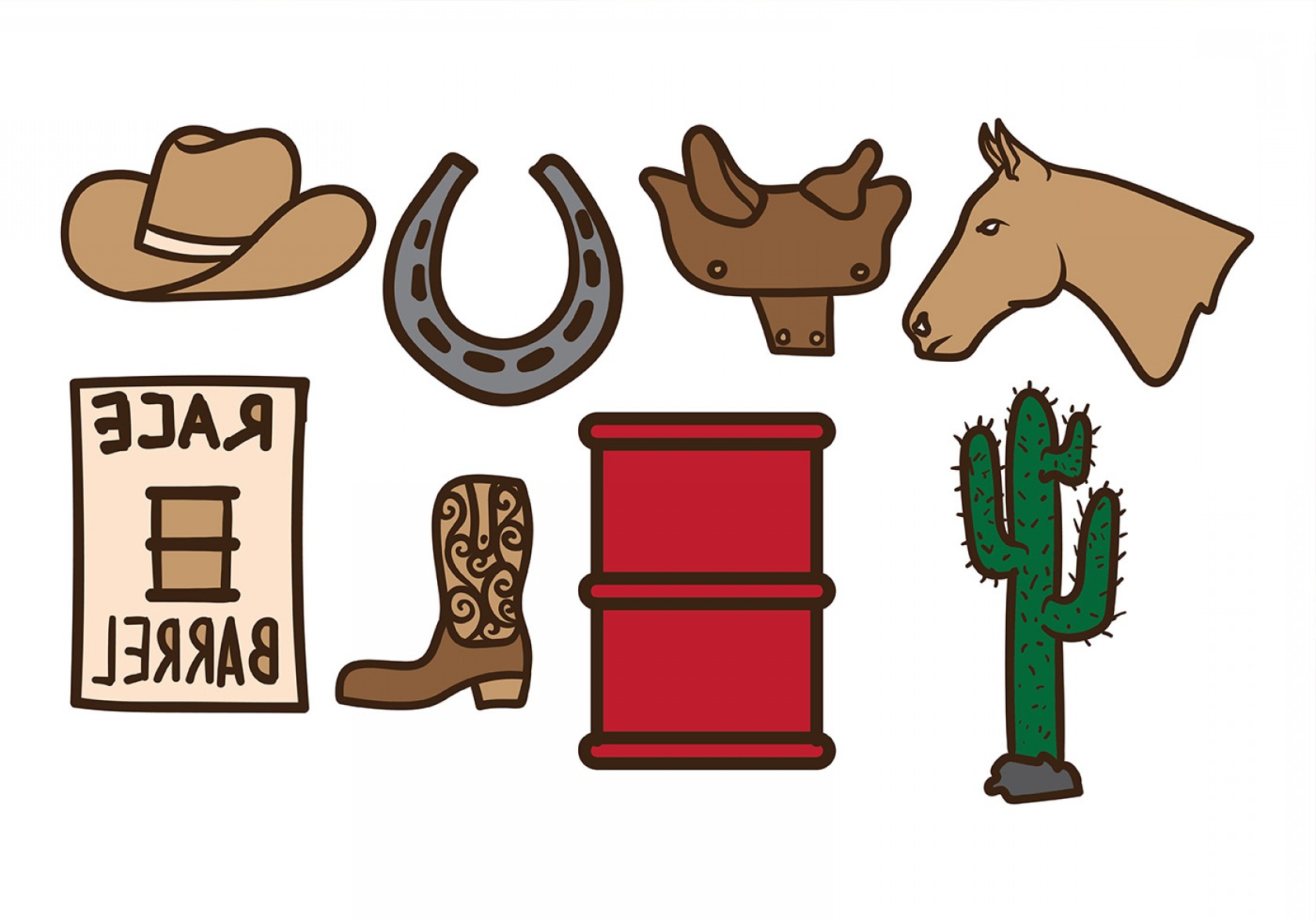 Barrel Racer Vector: Old West Barrel Racing Vectors