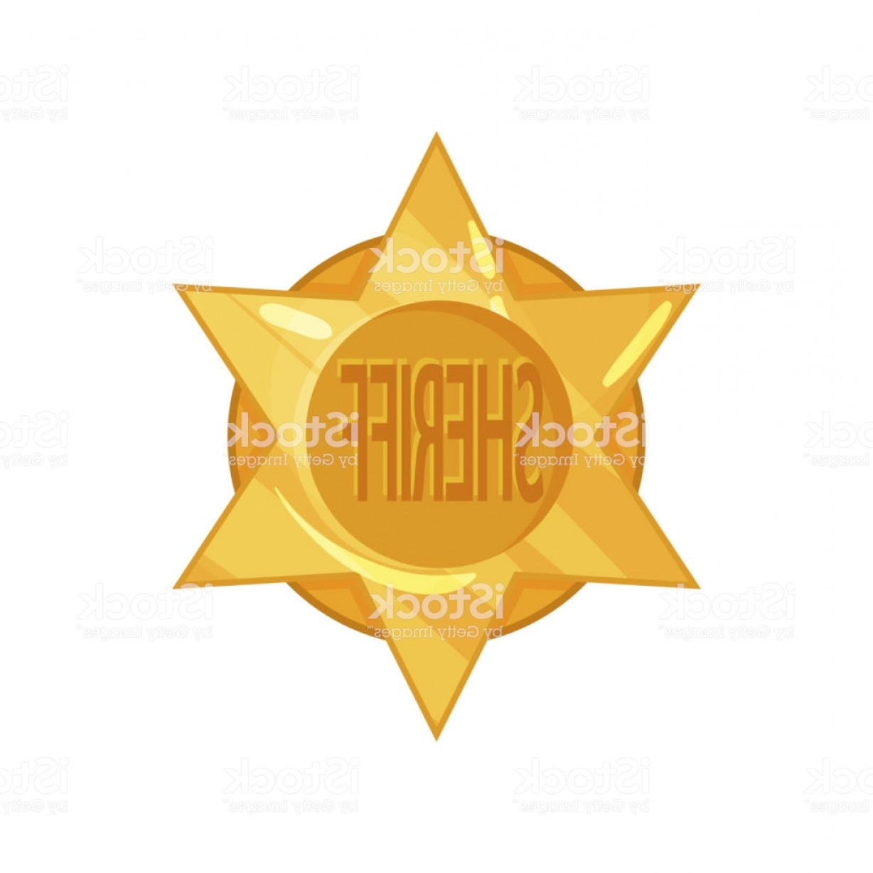 Star Badge Vector: Old West Police Golden Circle Star Badge In Cartoon Flat Style Vector Sheriff Emblem Gm