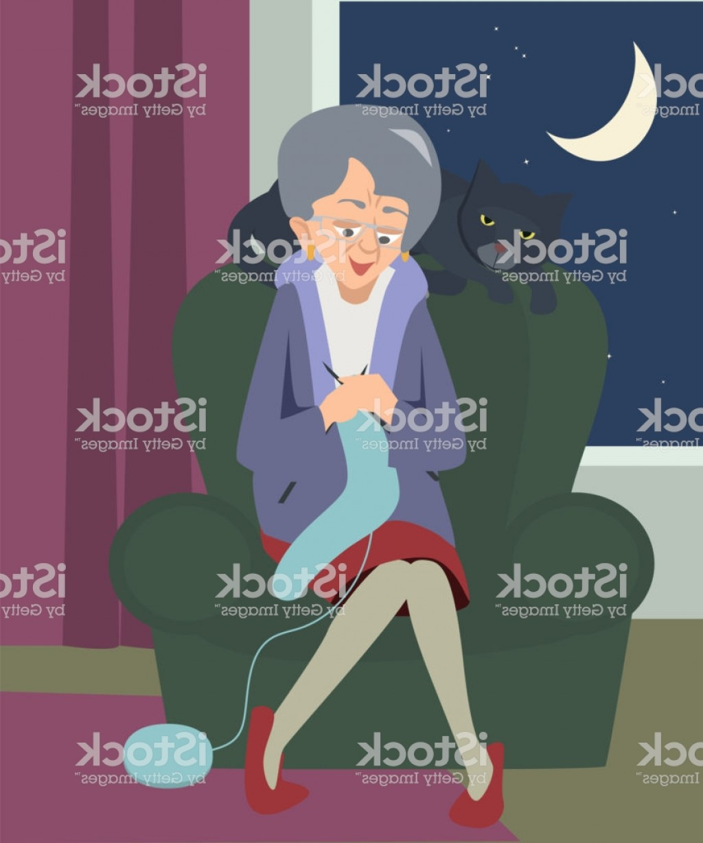 Bond Girls Vector: Old Woman Sitting And Knitting With Cat At Night Cartoon Gm