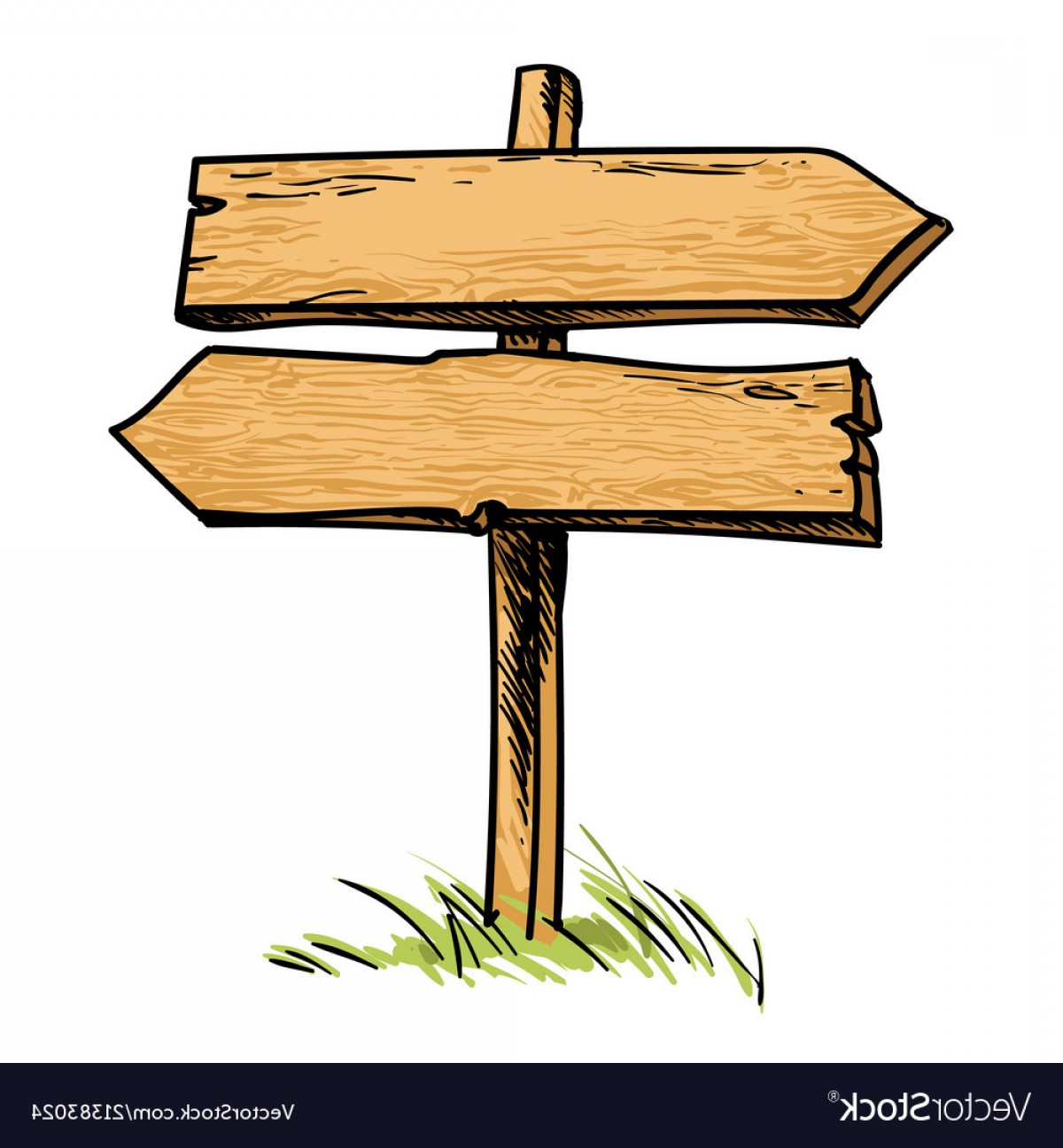 Old Wood Sign Vector: Old Wooden Double Direction Sign Vector