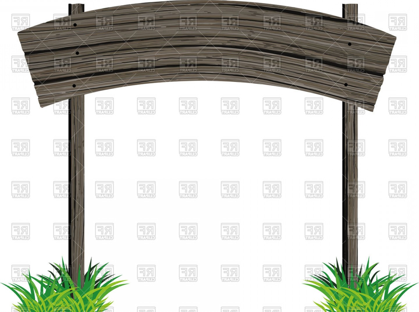 Old Wood Sign Vector: Old Wooden Plank Horizontal Empty Sign Vector Clipart