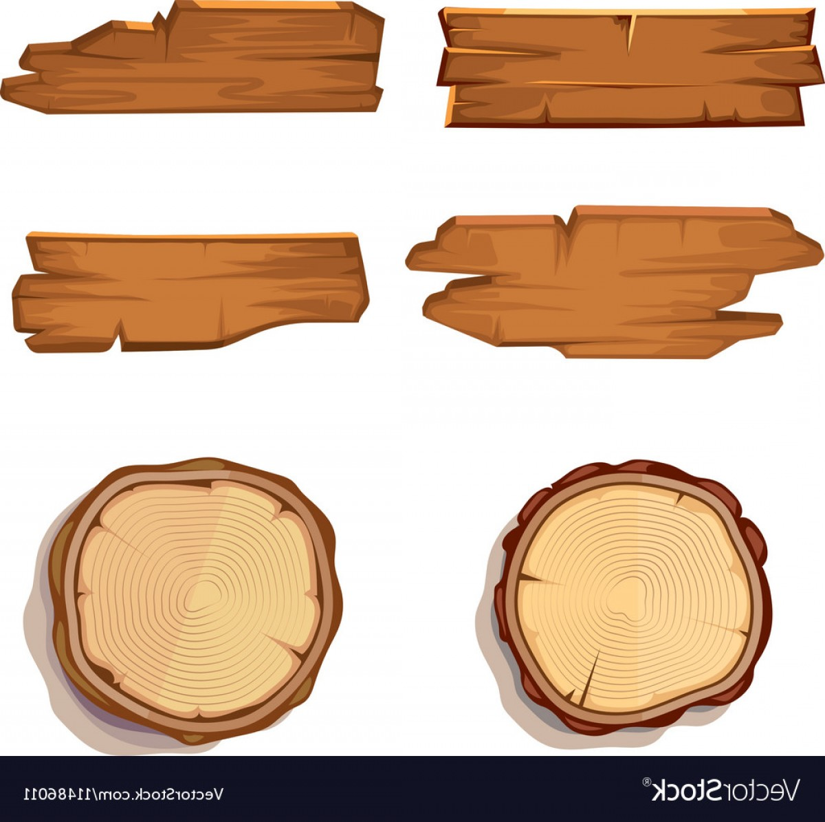 Wood Plank Vector Art: Old Wooden Planks And Saw Cut Tree Trunk Vector