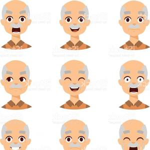 Old Male Icon Vector: Old Man Emotions Vector Icons Gm