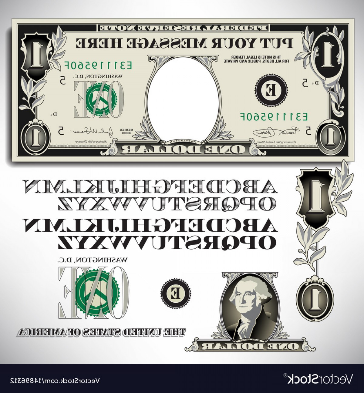 Vector Currency Parts: One Dollar Bill Parts With An Alphabet Vector