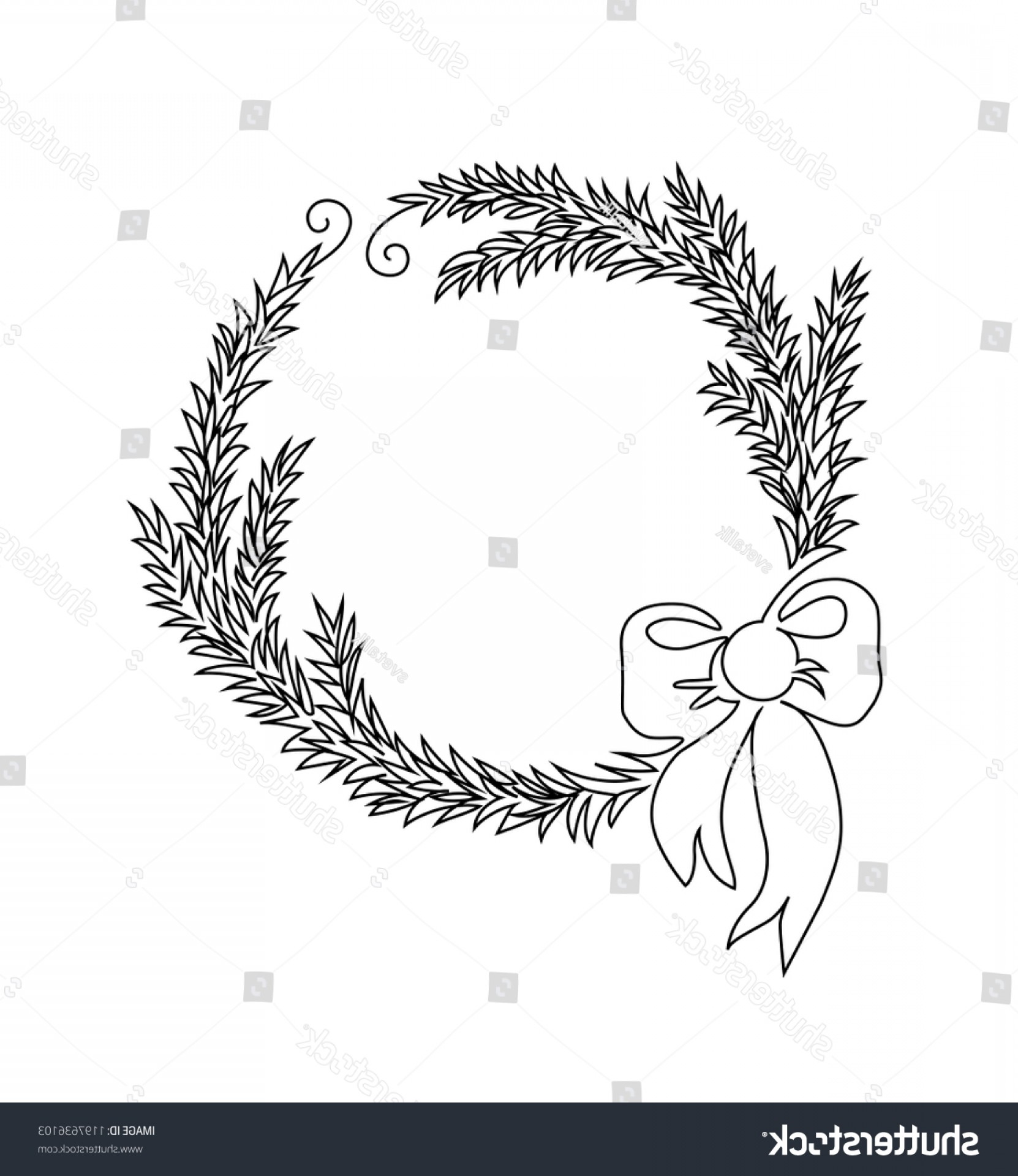 Continuous Tree Branch Vector Image: One Line Christmas Wreath Fir Tree