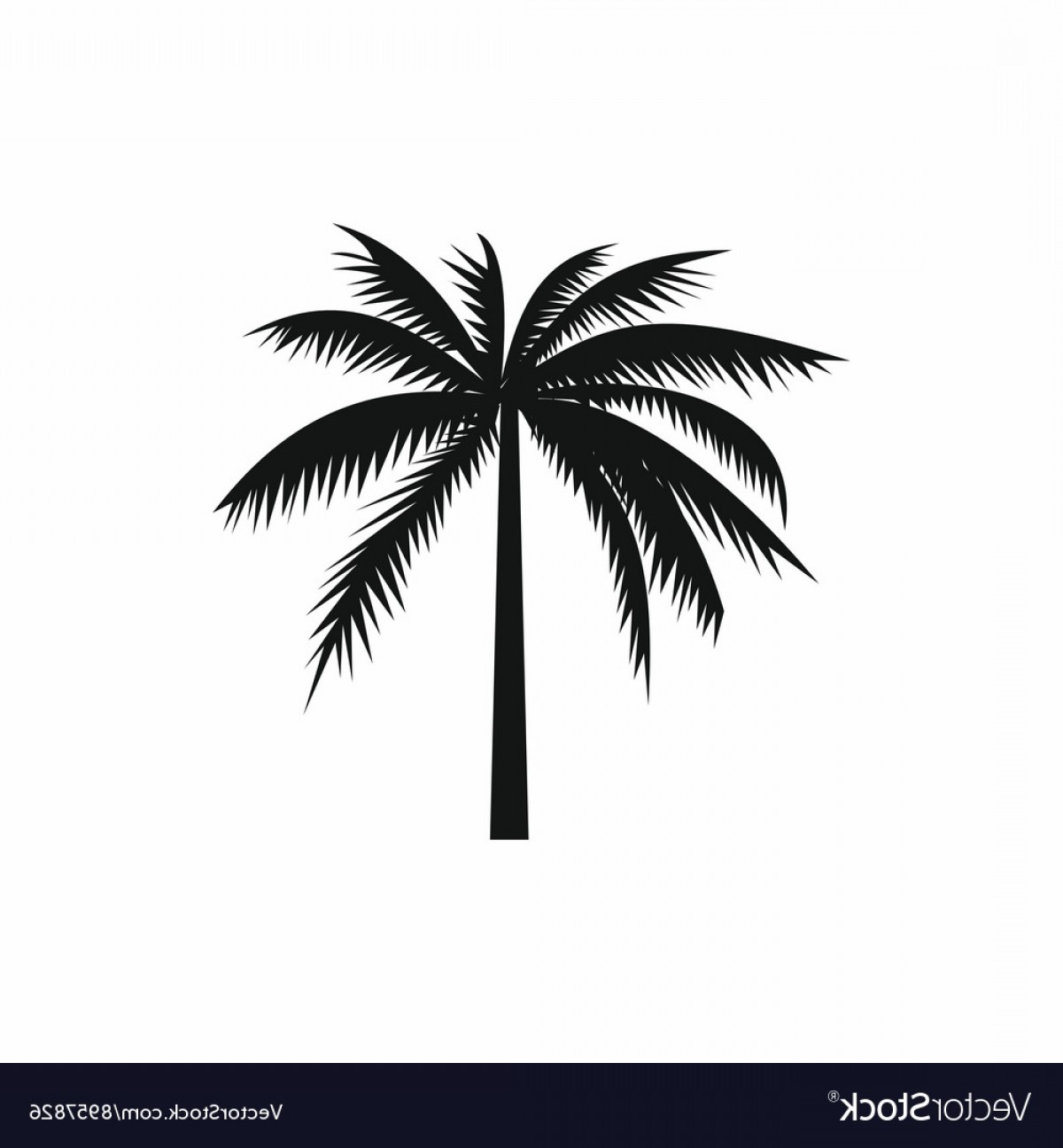 Simple Palm Tree Vector: One Palm Tree Icon Simple Style Vector