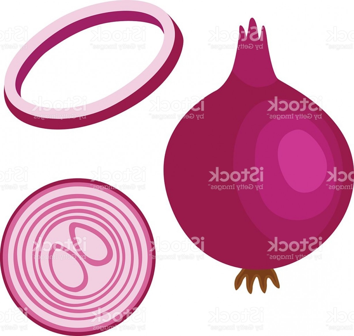 Onion Vector: Onion Illustration Set Of Sliced Chopped Red Onion Gm