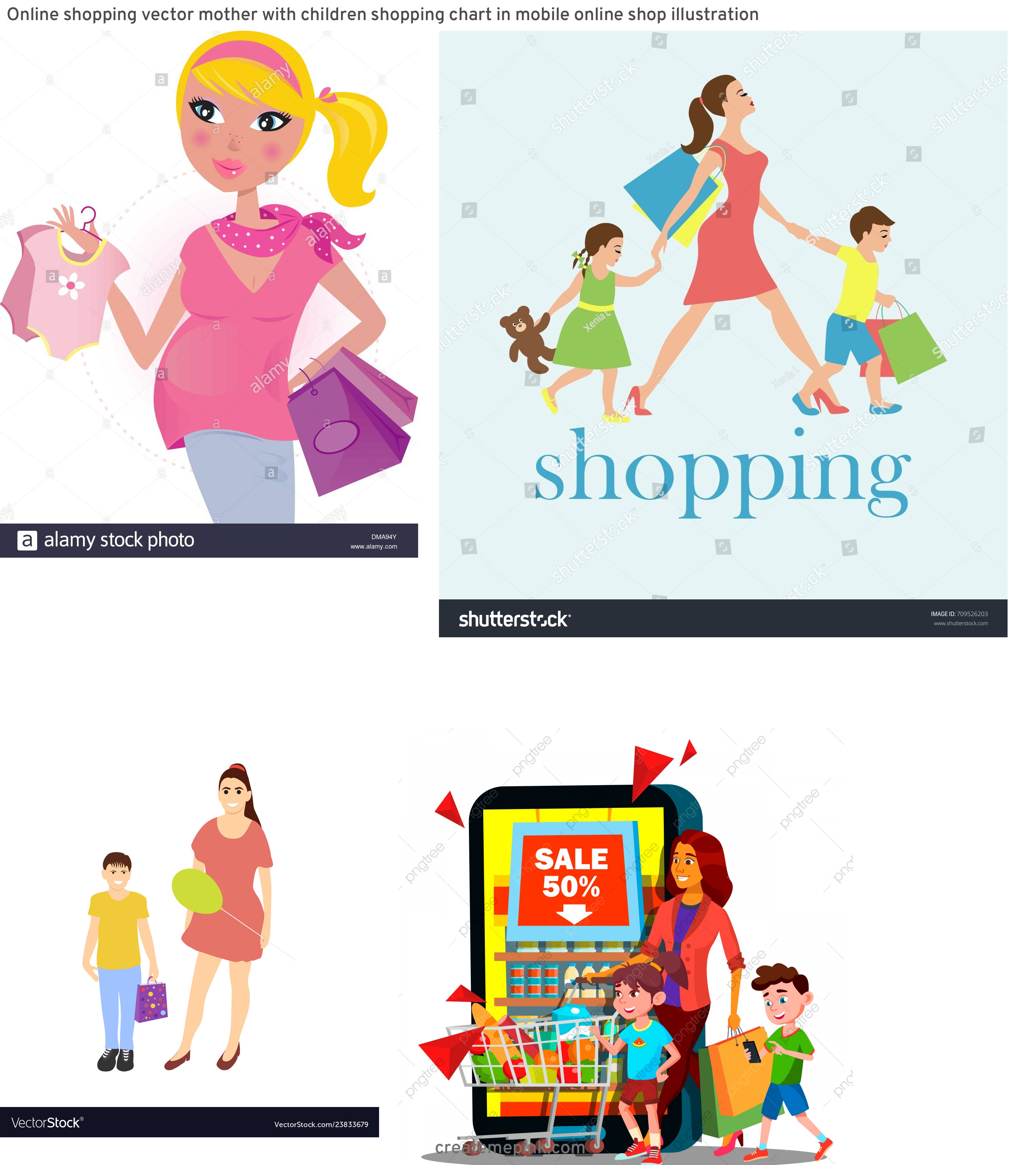 Shopping Vector Of Mom: Online Shopping Vector Mother With Children Shopping Chart In Mobile Online Shop Illustration