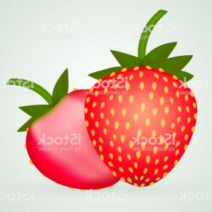 Strawberry Vector Illustration: One Strawberry And Half Of Strawberry Vector Illustration Gm