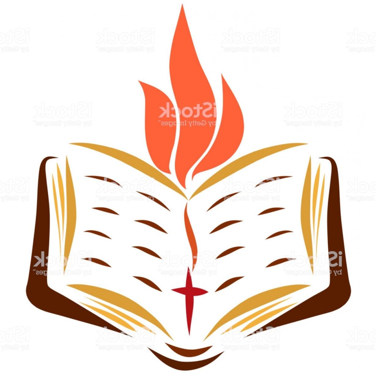 Open Bible Vector Art: Open Bible With A Bookmark With A Cross And A Flame Gm