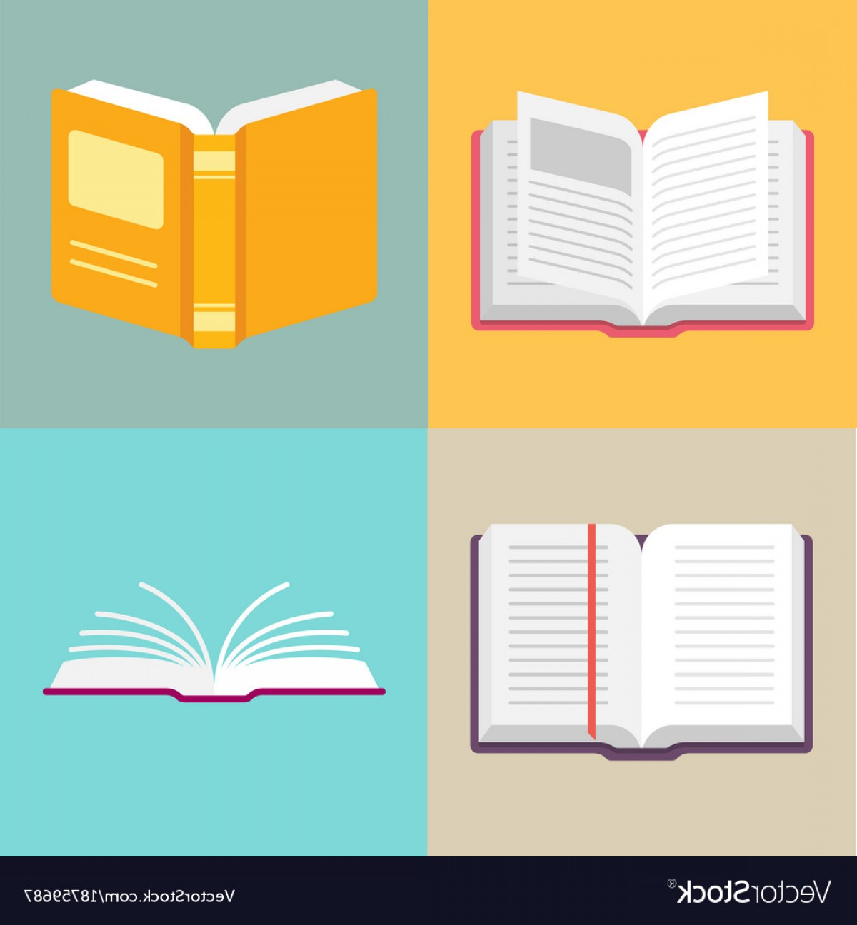 Open Book Vector Flat: Open Book Icons In A Flat Style Vector
