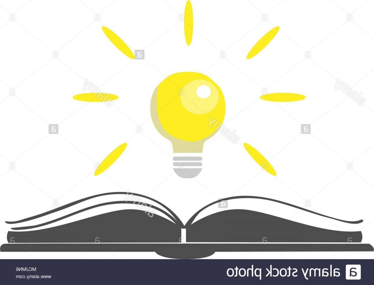 Open Book Vector Flat: Open Book Vector Icon With Shining Bulb Over It Colorful Flat Design Open Book Logo Vector Illustration Image