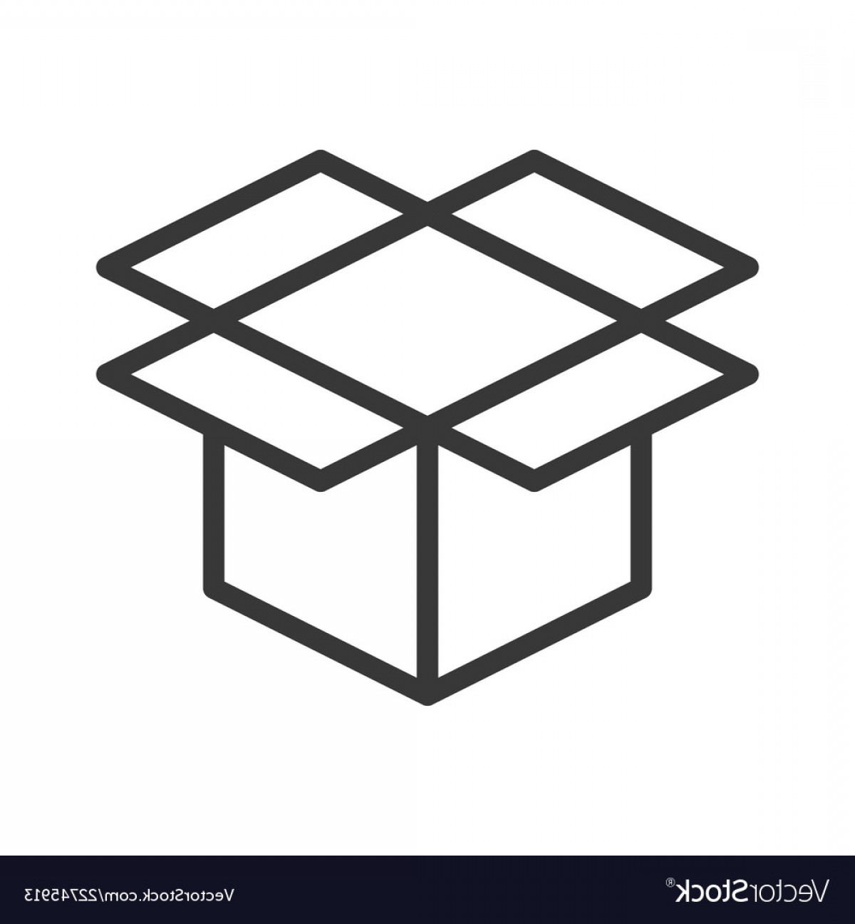 Box Outline Vector: Open Box Shipping And Logistic Icon Outline Vector