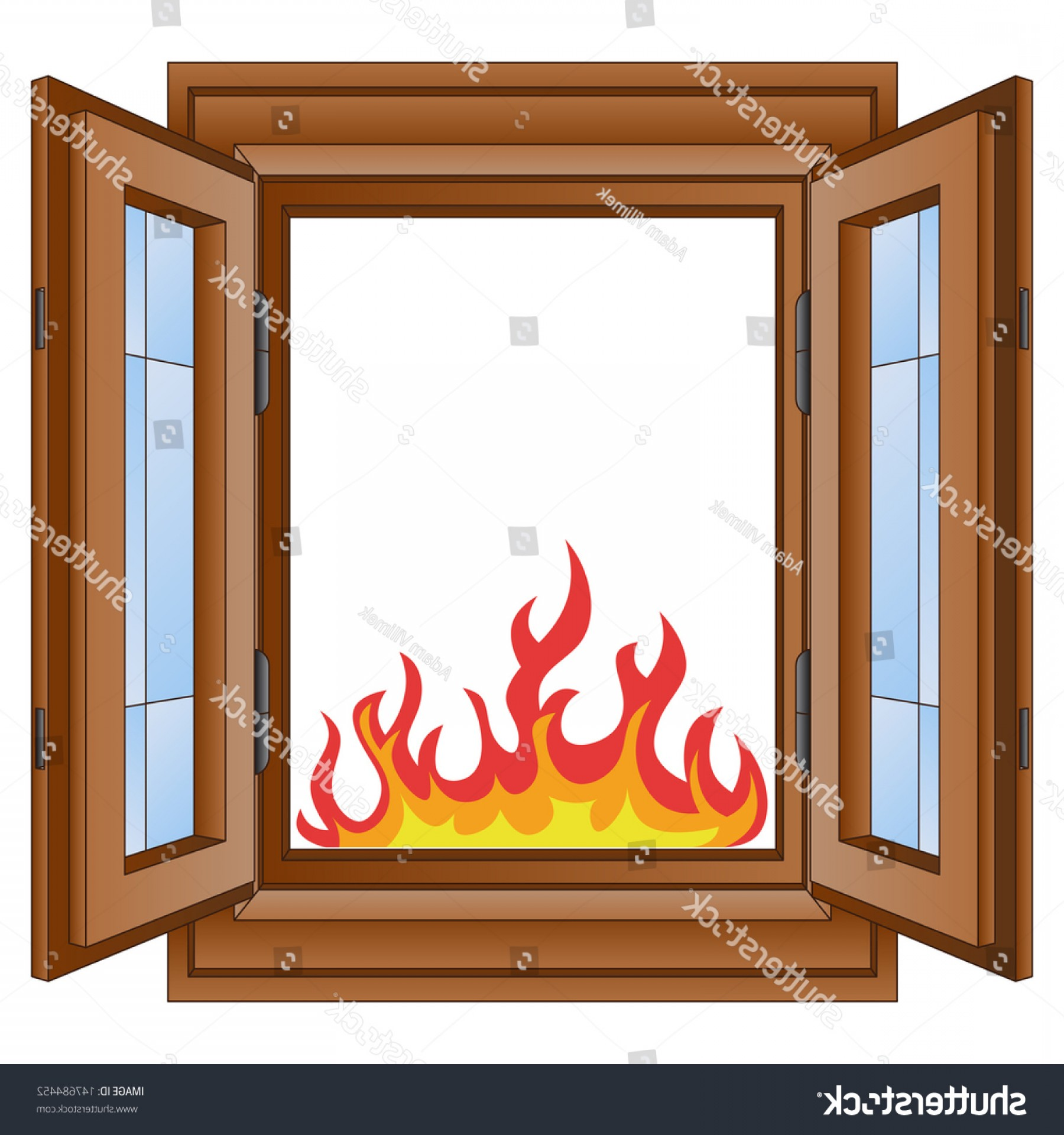 Clay Window Vector: Open Fire Flames Window Wooded Frame