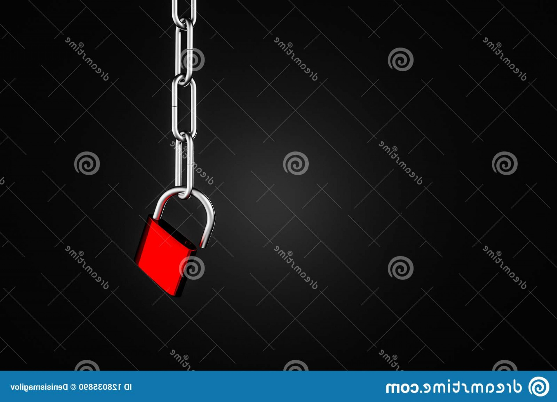 Chain And Lock Glove Vector: Open Red Padlock Steel Chains Mock Up Red Steel Open Padlock Hanging Steel Chain Over Black Background Concept Image