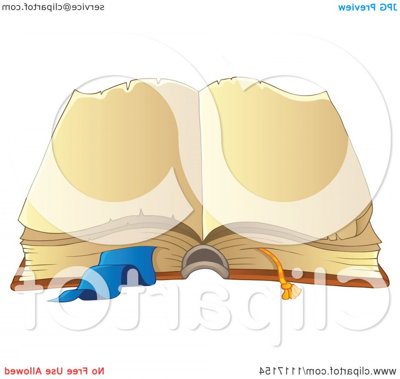 Cartoon Blank Open Book Vector: Open Vintage Book With Blank Pages