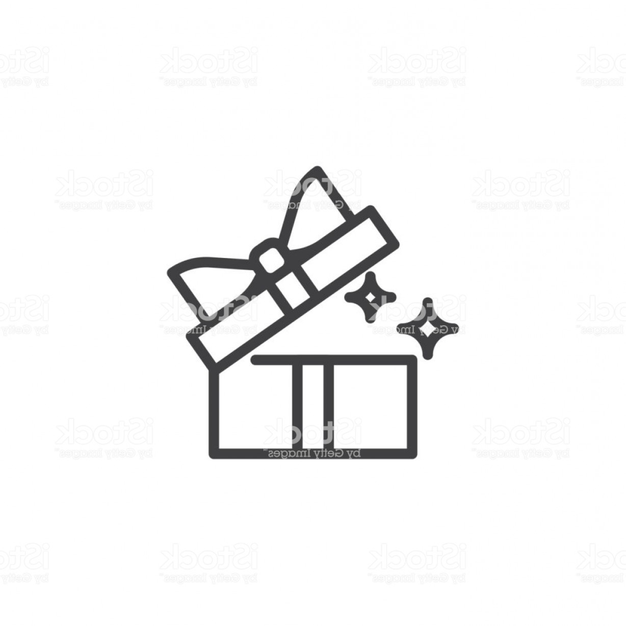 Box Outline Vector: Opened Gift Box Outline Icon Gm