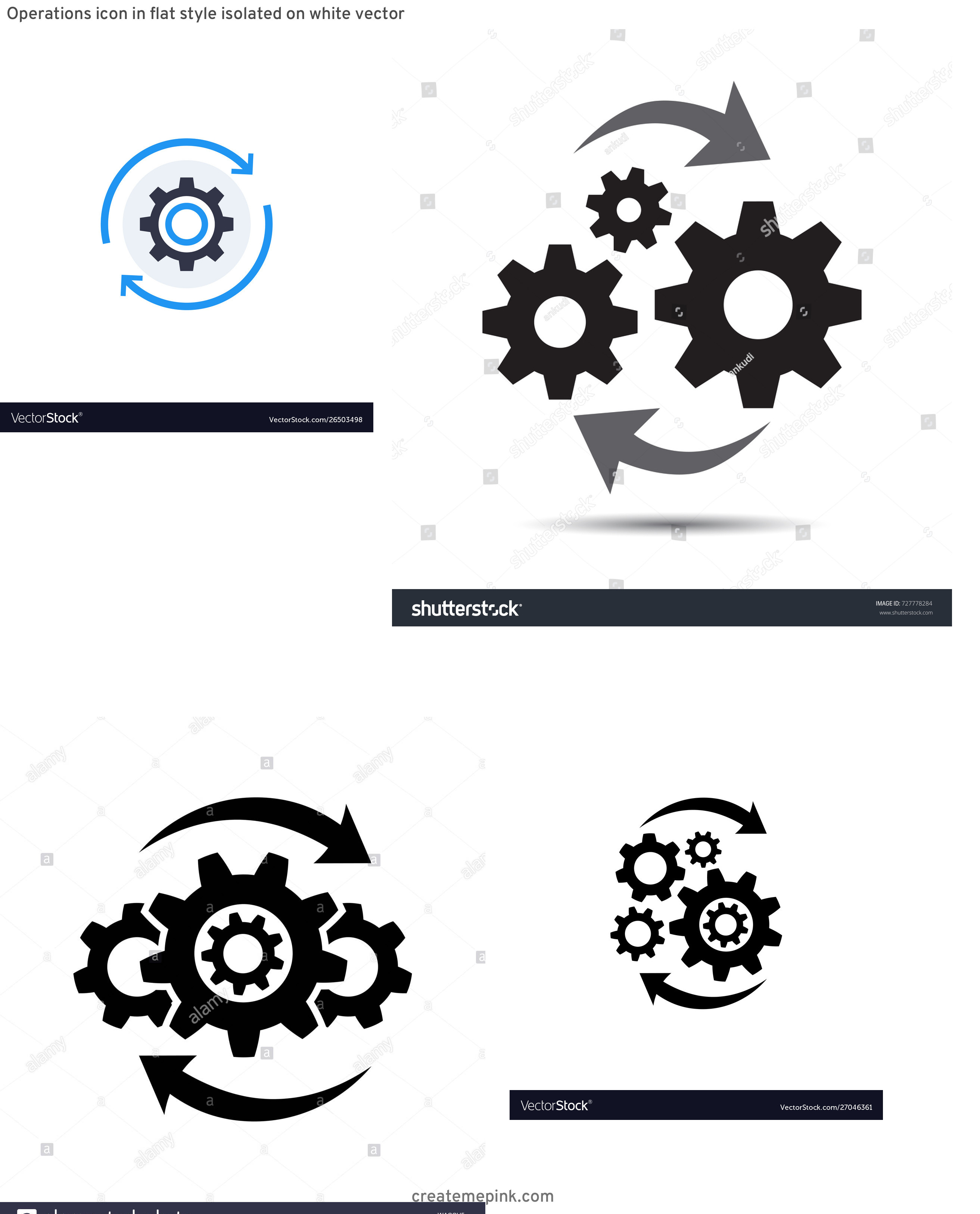 Operations Icon Vector: Operations Icon In Flat Style Isolated On White Vector