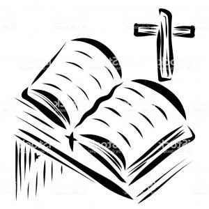 Open Bible Vector Art: A Flying Bird Over An Open Bible With A Cross Gm