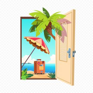 Summer Transparent Vector: Opened Spring Door Isolated On Transparent Vector