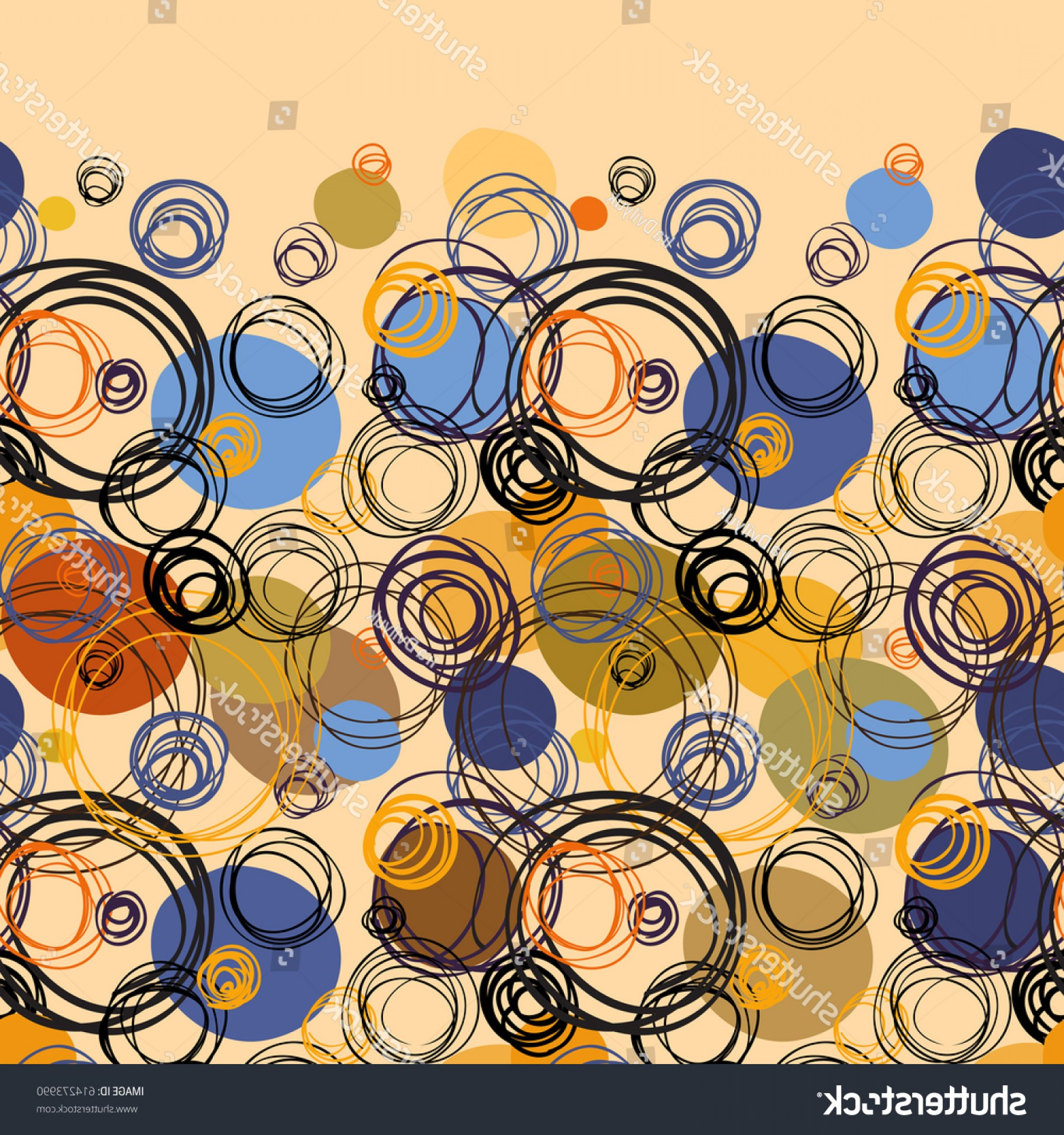 Blue And Orange Circle Vector: Orange Blue Geometric Abstract Circles Border