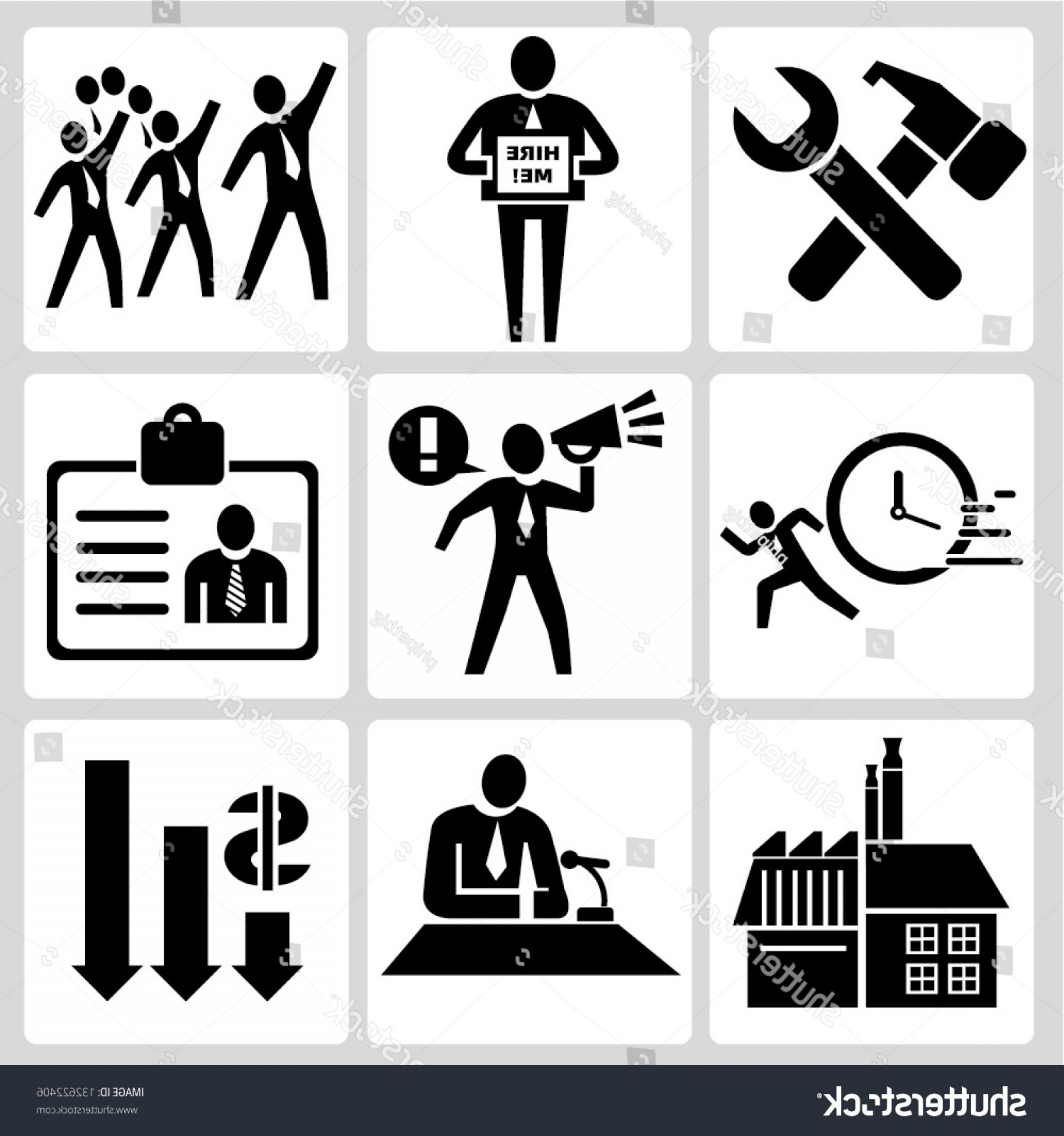 Vector Black And White Organization: Organization Human Resource Trade Union Sign