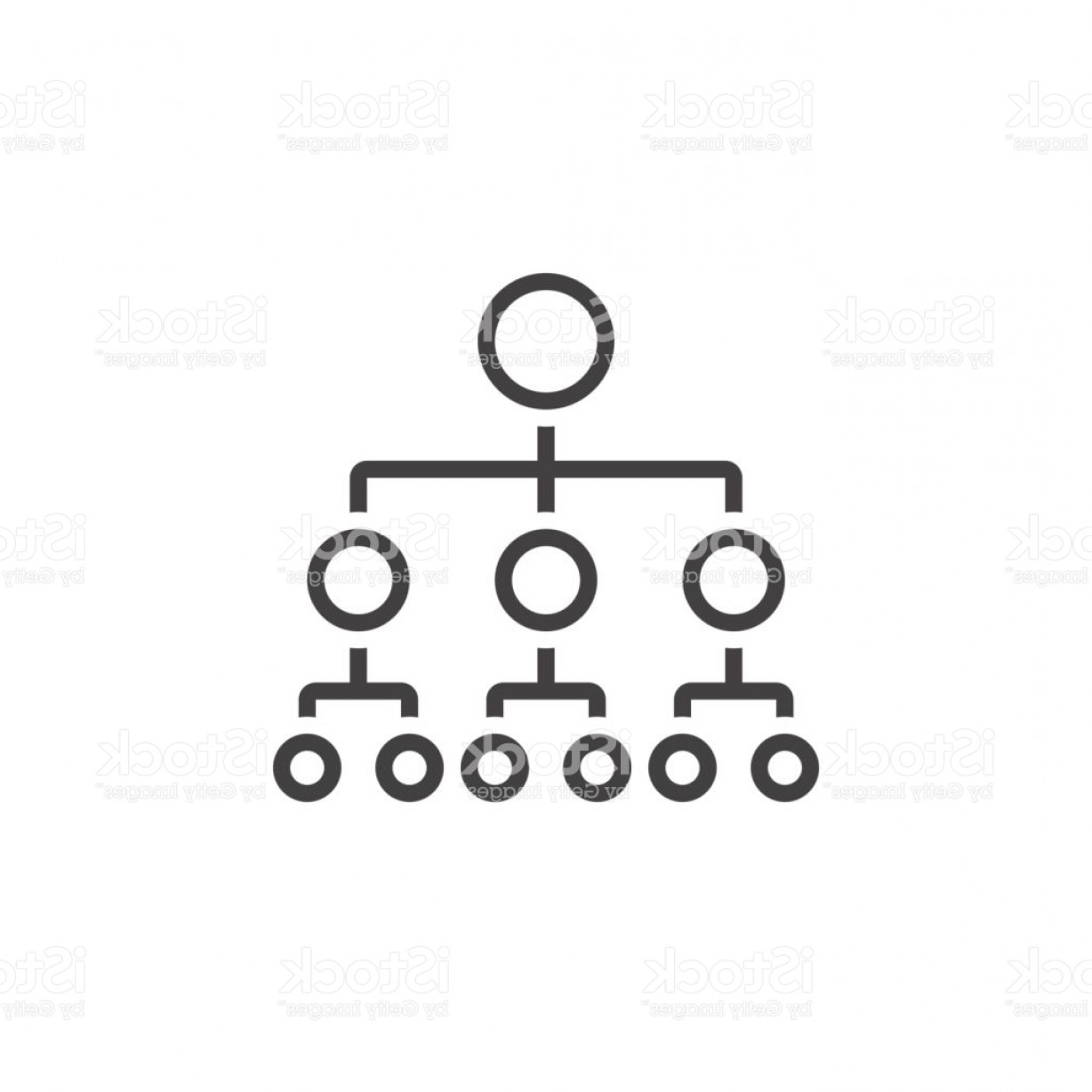 Vector Black And White Organization: Organizational Chart Line Icon Outline Hierarchy Vector Logo Linear Pictogram Gm