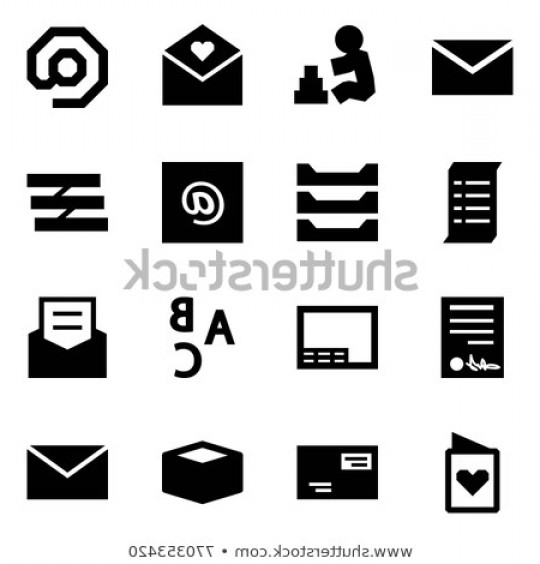 Vector ABC History: Origami Style Icon Set Mail Vector