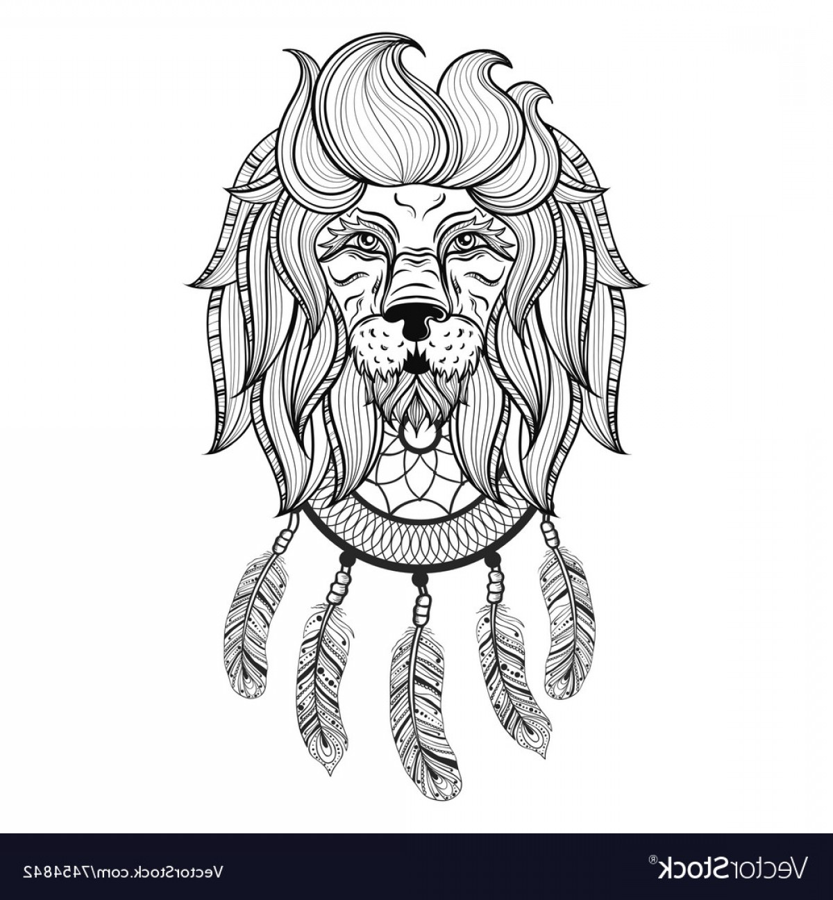 Dreamcatcher Tattoo Vector: Ornamental Lion With Dreamcatcher Ethnic Vector