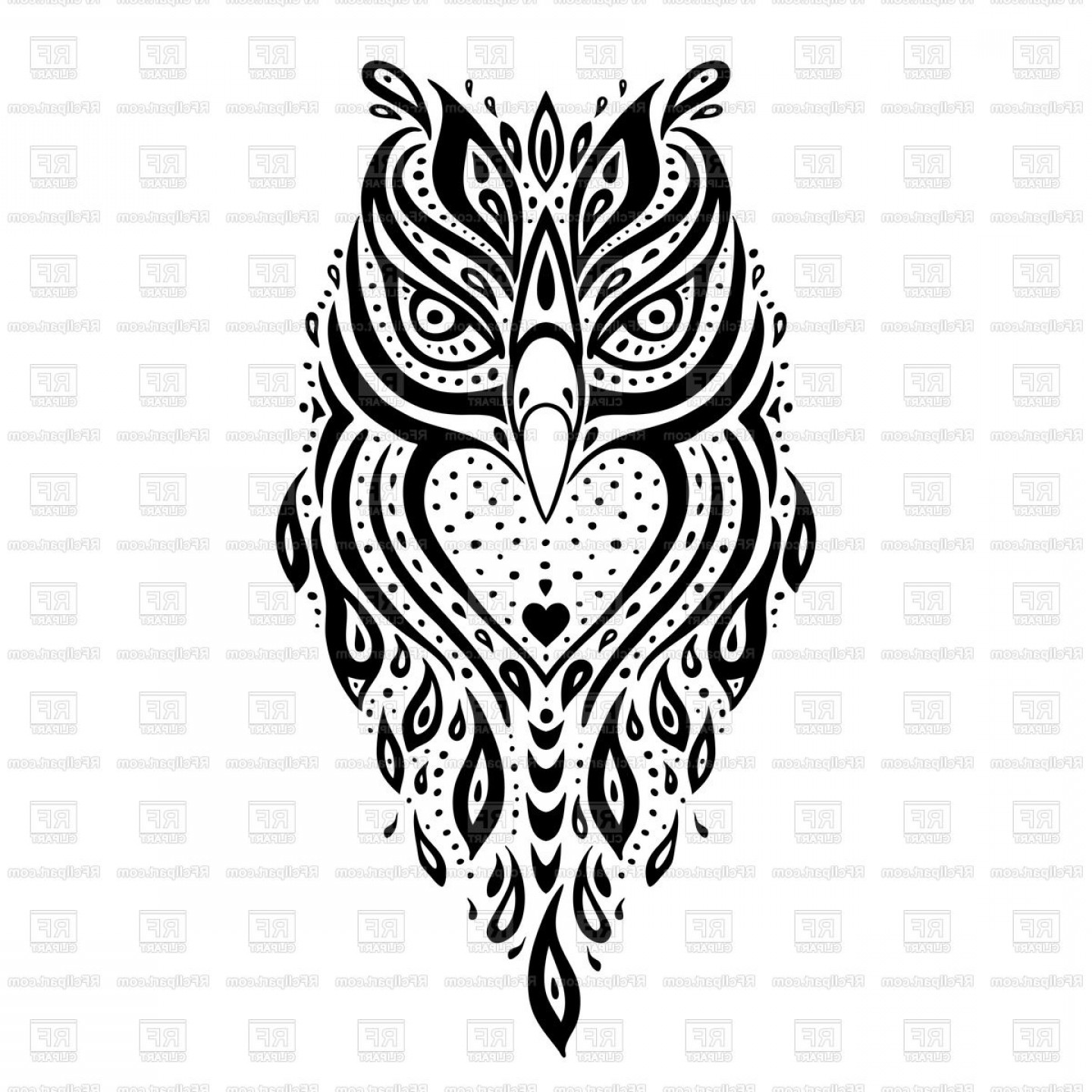 Detailed Tattoo Vector Images: Ornamental Owl Ethnic Tattoo Vector Clipart