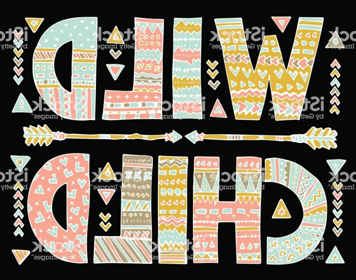 Vector Boho Arrow Strength: Ornamental Wild Child Lettering Gm