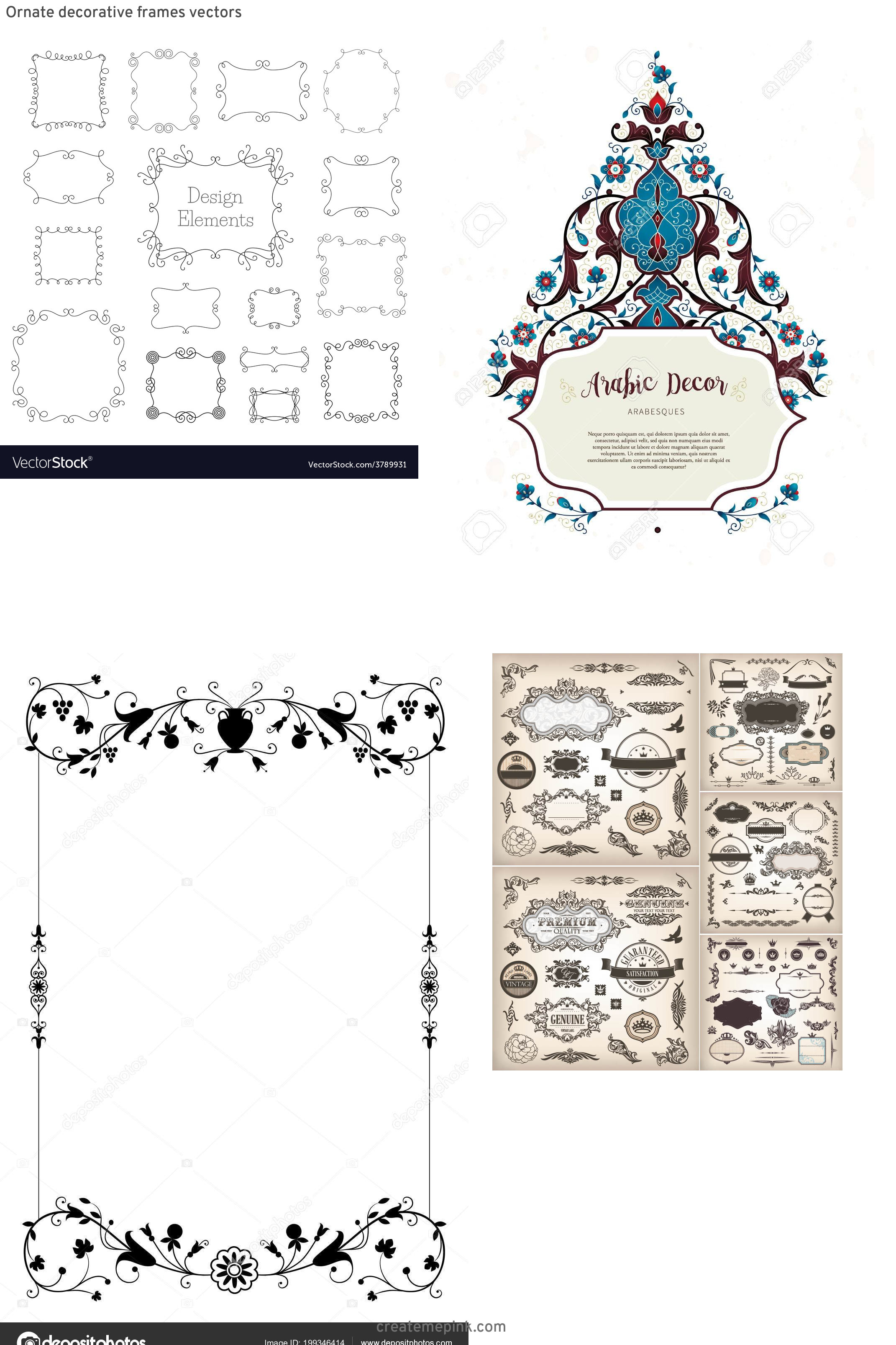 Elements Of Vector Vintage Decorative Frame: Ornate Decorative Frames Vectors