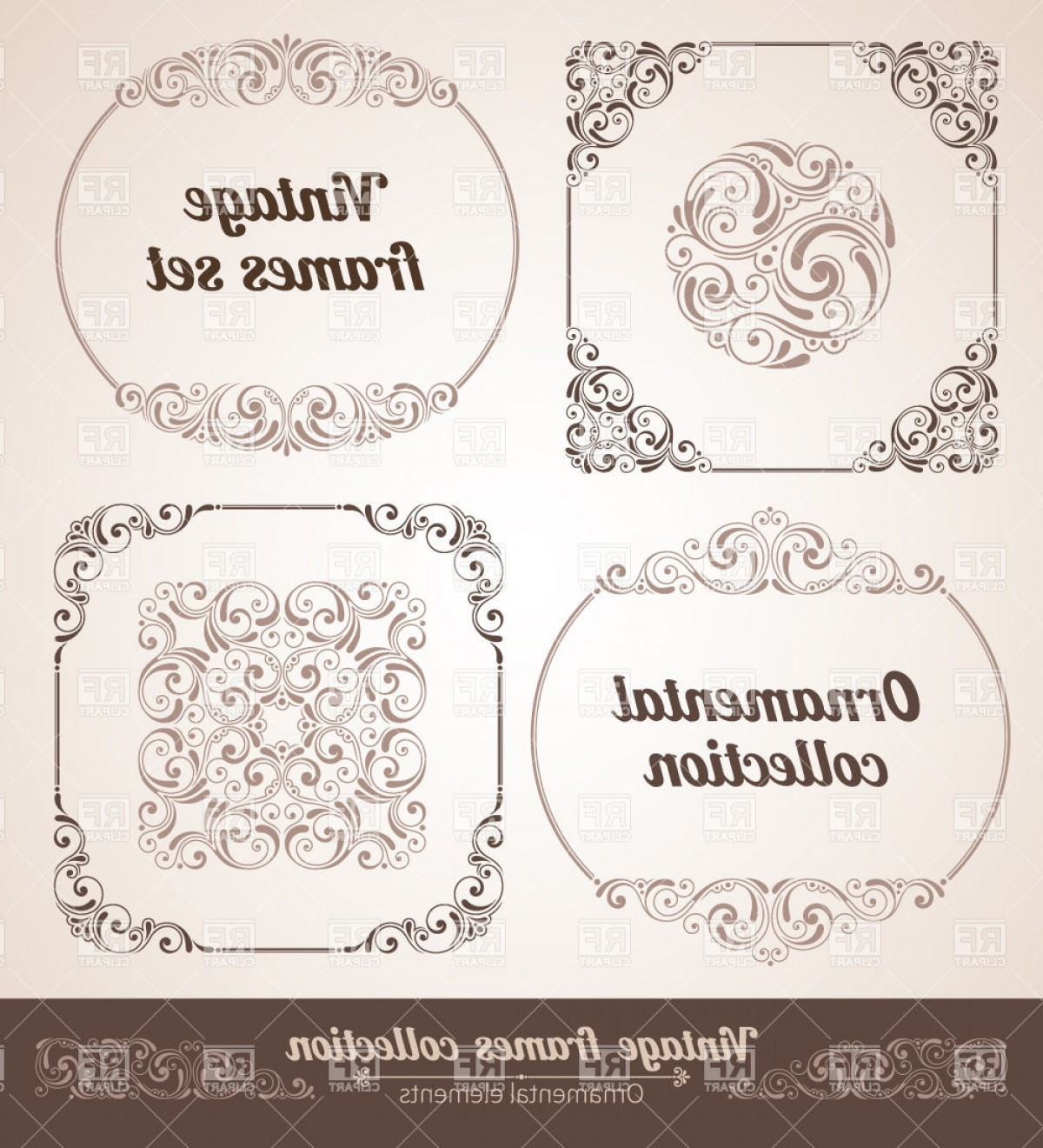 Vector Ornate Vintage Frame Blank: Ornate Vintage Frames And Borders Vector Clipart