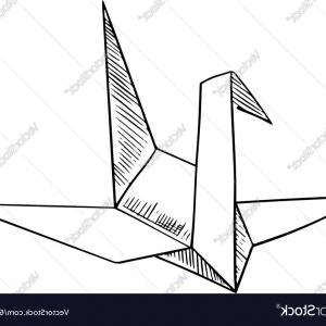 Origami Crane Vector: Origami Crane Paper Bird Sketch Icon Vector