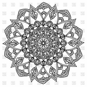 Flower Elements Vector: Ornamental Round Pattern With Floral Elements Ornamental Mandala Vector Clipart