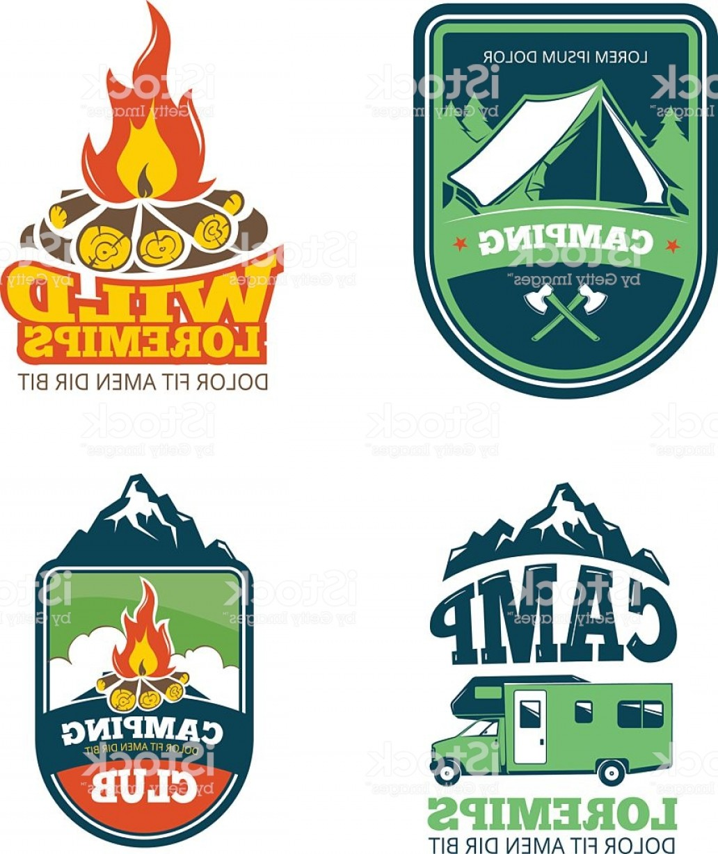 Vector Lables: Outdoor Adventure Camp Hiking Camping Vector Labels Emblems Logos Badges Gm