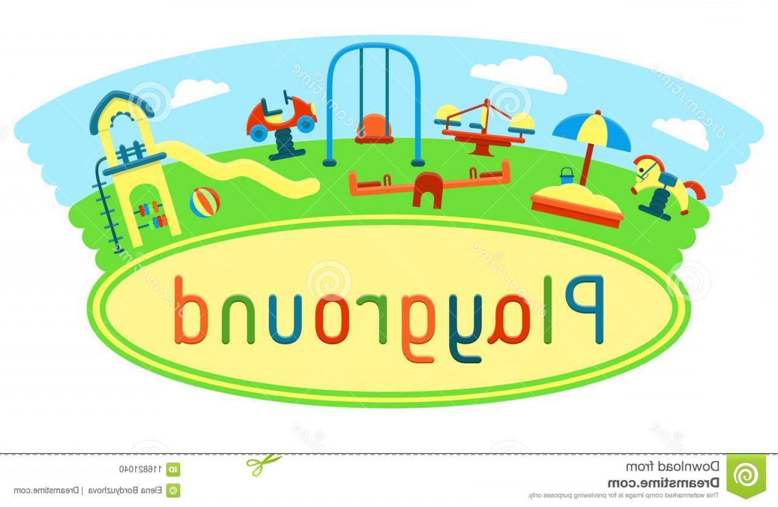 Playground Equipment Vector Art: Outdoor Card Kids Playground Equipment Flat Style Vector Illustration Suitable Childrens Book Eps Outdoor Card Kids Image