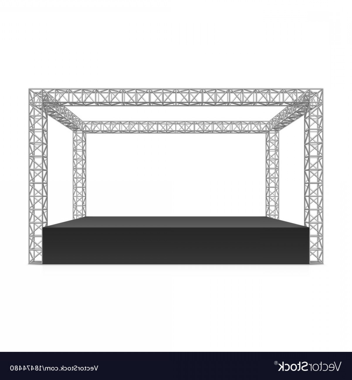 Aluminum Truss Design Vector: Outdoor Festival Stage Truss System Vector
