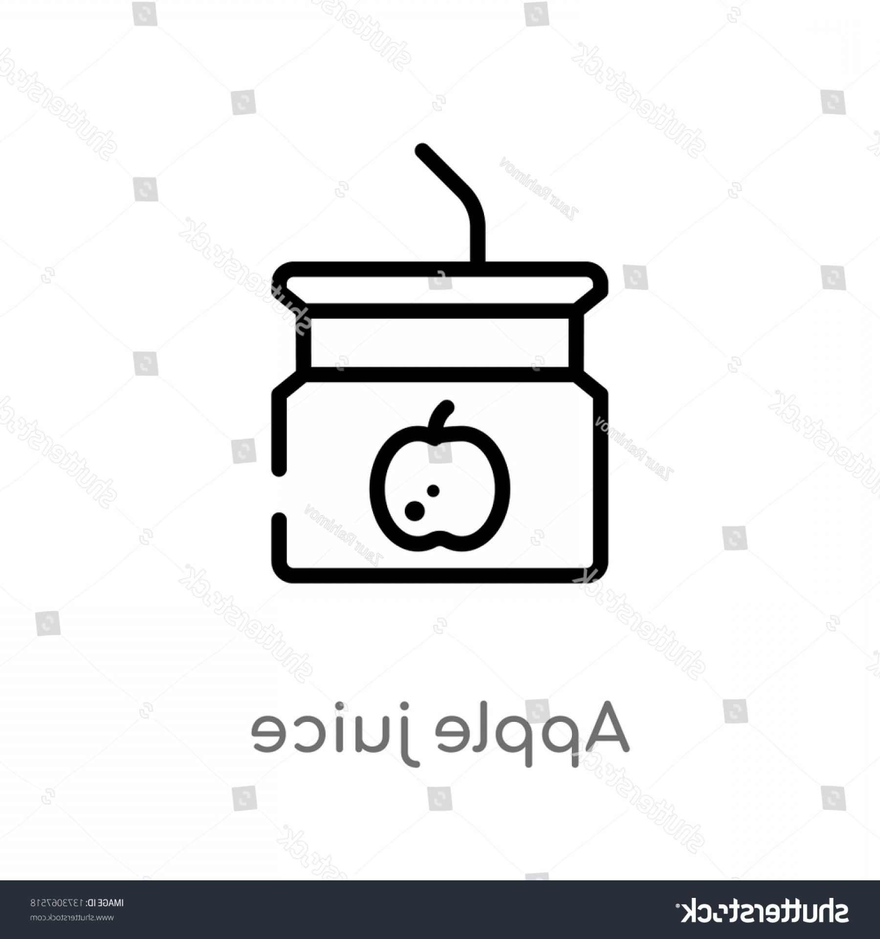 Juice Vector Black: Outline Apple Juice Vector Icon Isolated