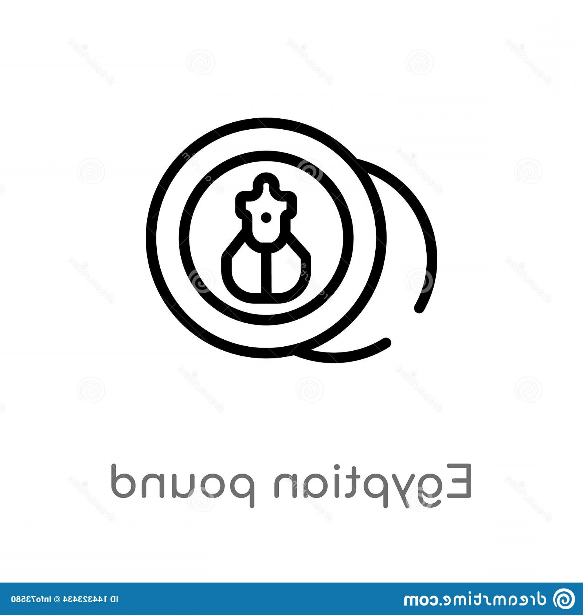 Egyptian Money Symbol Vector: Outline Egyptian Pound Vector Icon Isolated Black Simple Line Element Illustration Africa Concept Editable Stroke White Image