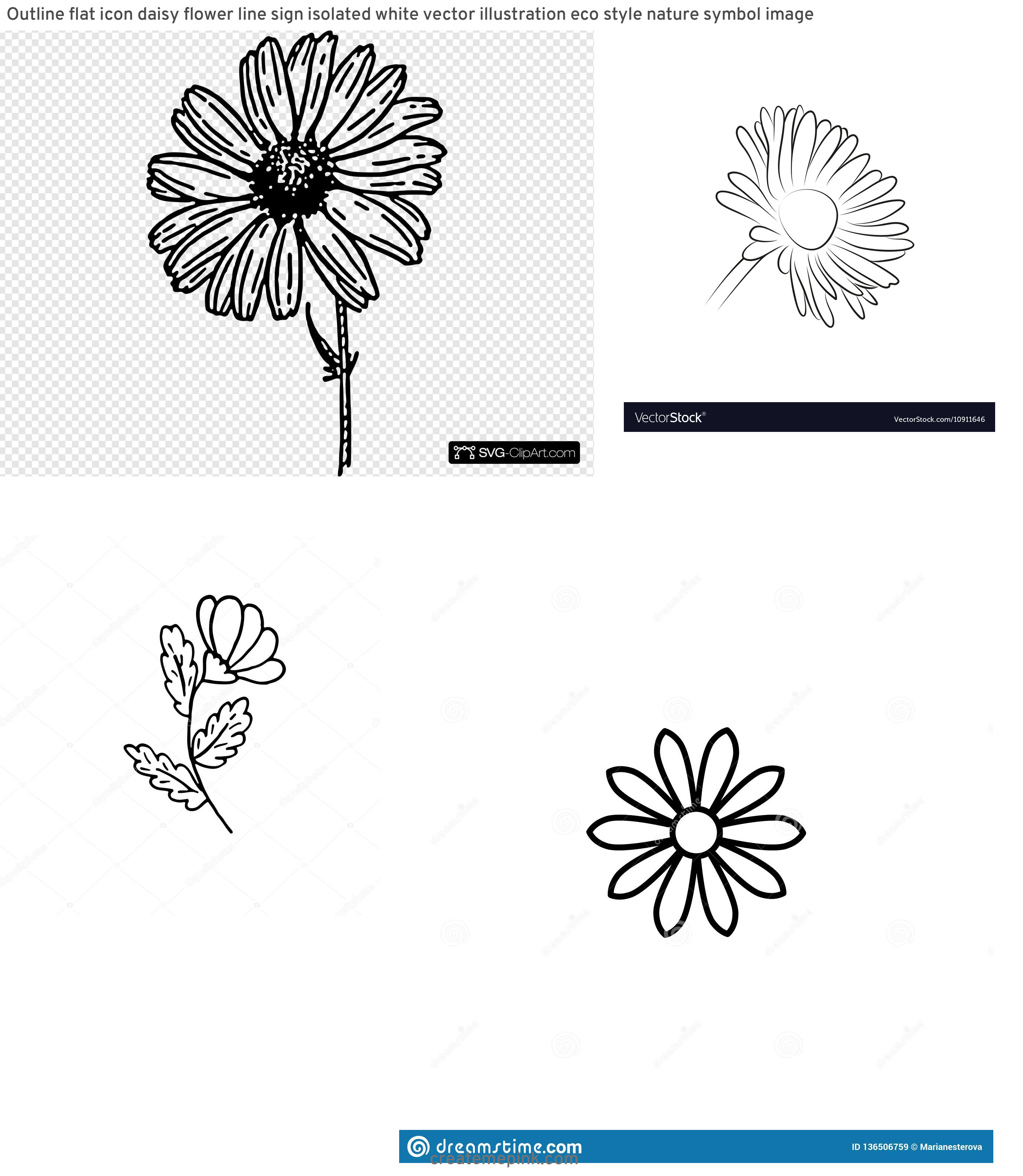 Flower Daisey Black Vector Art: Outline Flat Icon Daisy Flower Line Sign Isolated White Vector Illustration Eco Style Nature Symbol Image