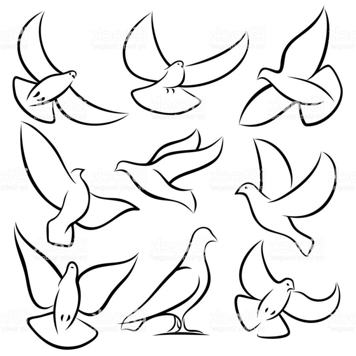 White Bird Vector: Outline Flying Doves White Birds And Pigeons Vector Icons Holy Spirit Easter Love Gm