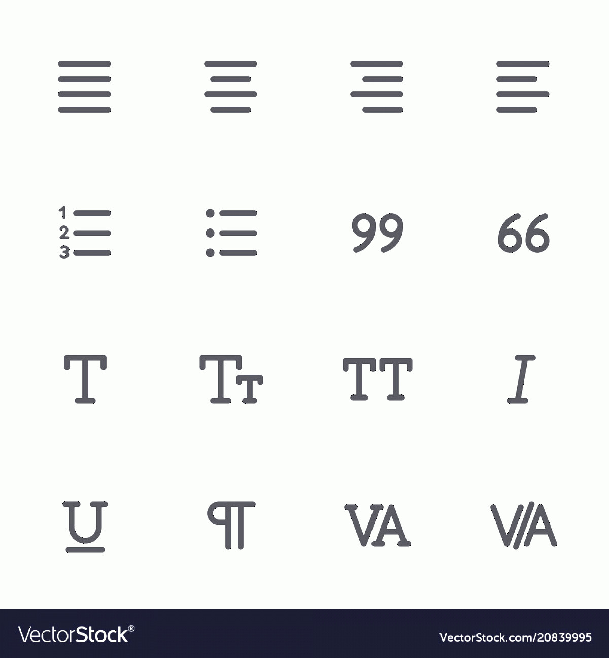 Editors Symbols In Vector: Outline Icons For Web And Mobile Text Editor Vector