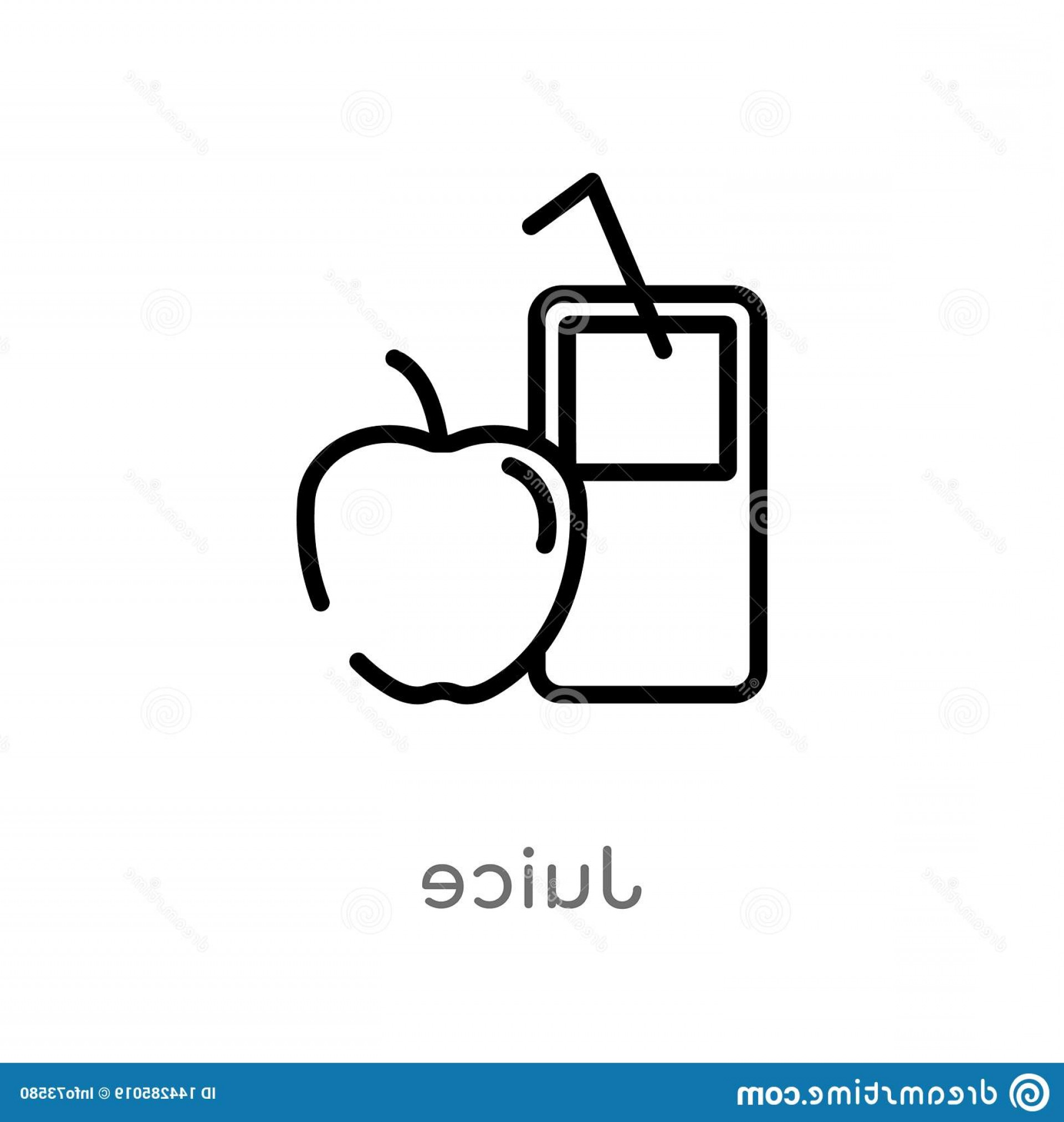 Juice Vector Black: Outline Juice Vector Icon Isolated Black Simple Line Element Illustration Health Concept Editable Stroke White Background Image