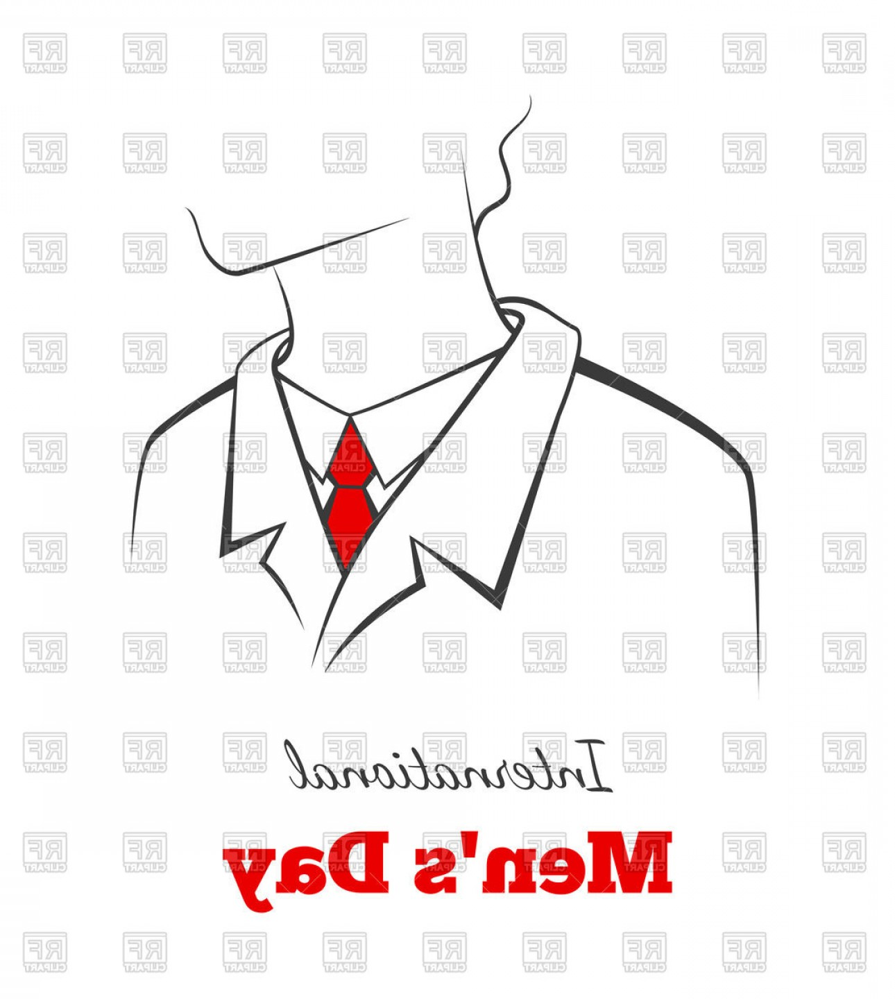 Card Suits Vector Outlines: Outline Of Man In Suit And Red Tie International Mans Day Card Vector Clipart