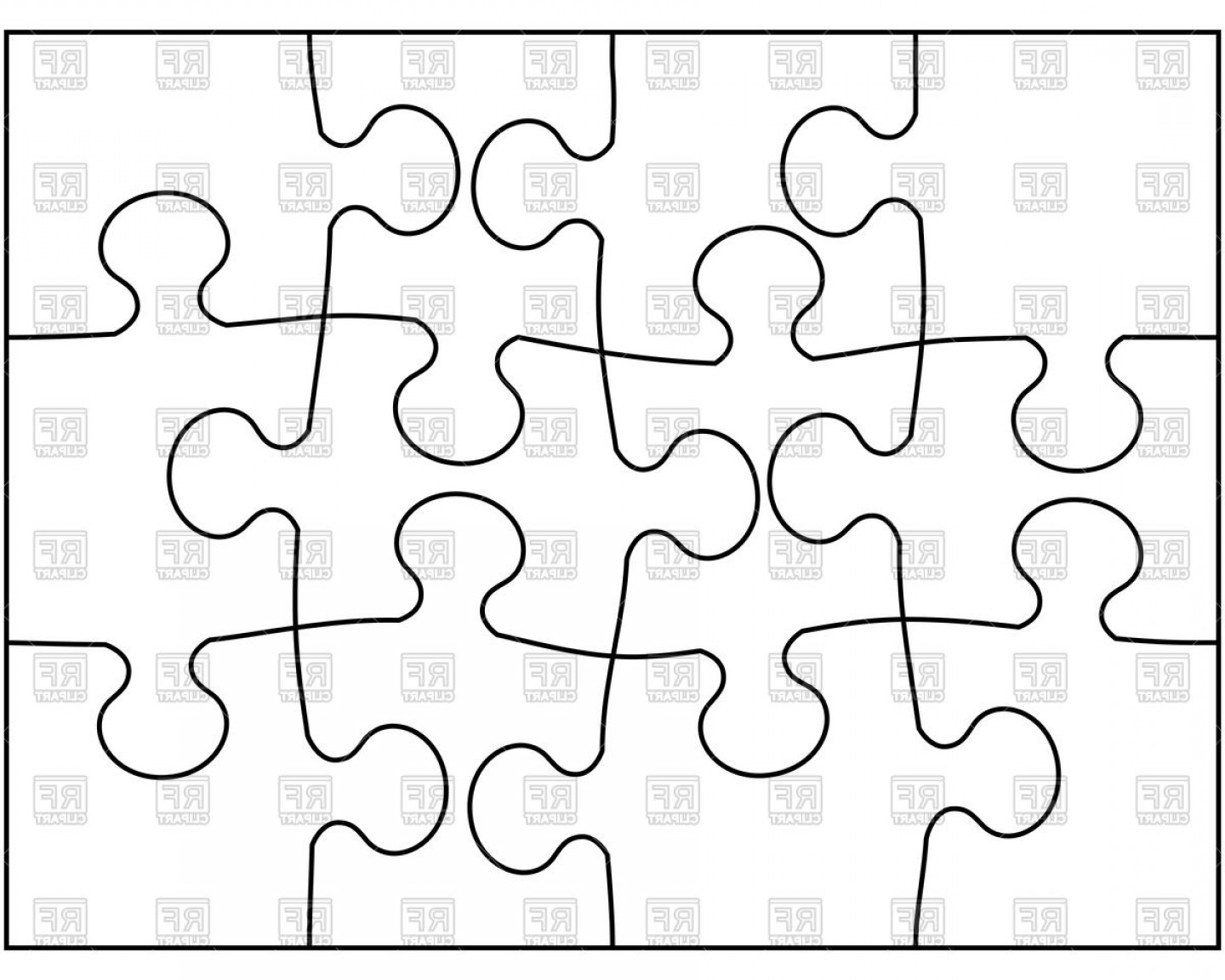 Puzzle In Vector Format: Outline Of Puzzle Mosaic Background Vector Clipart