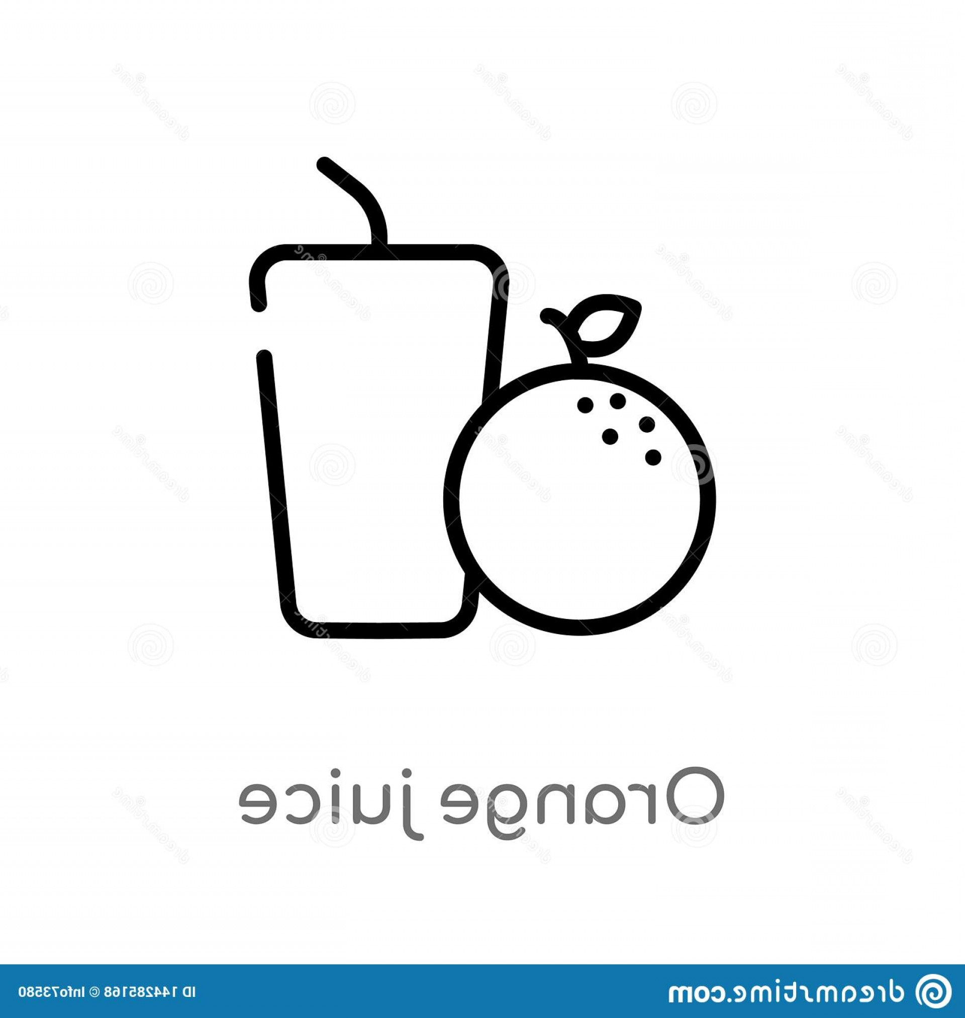 Juice Vector Black: Outline Orange Juice Vector Icon Isolated Black Simple Line Element Illustration Health Concept Editable Stroke White Image