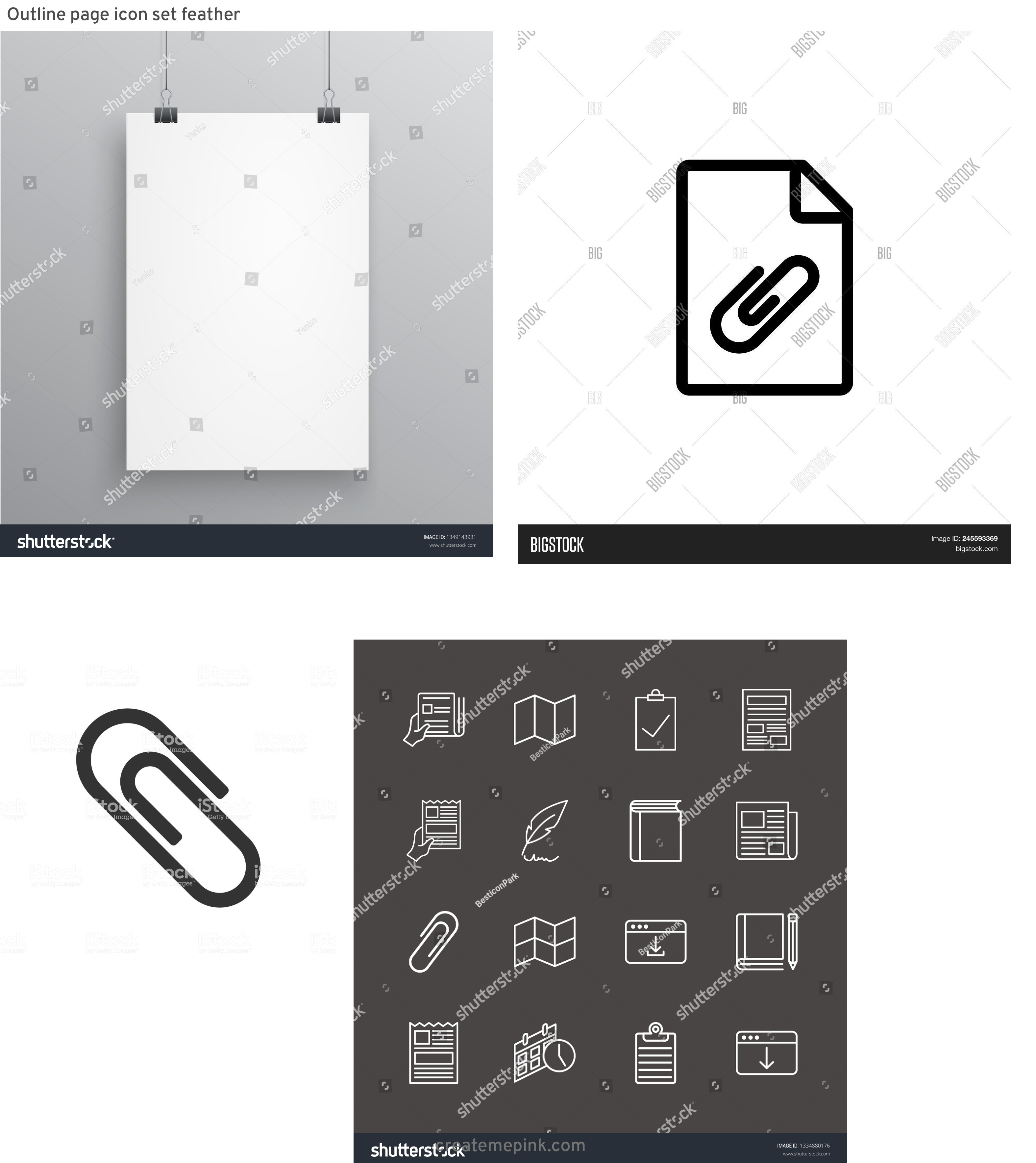 Vector Paper Clip On Page: Outline Page Icon Set Feather